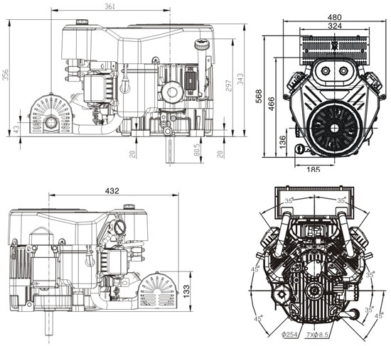 wymiary silnika